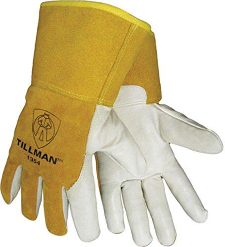 "John Tillman 1354L Tillman Large Yellow/White Cowhide Cut Resistant Gloves w/4"" Gauntlet Cuff, KevlarSock Liner/White Cowhide Coating On Palm/Fingers, English, 15.34 fl. oz, Plastic, 1 x 1 x 1"