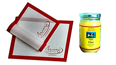 Grass-fed Organic Ghee (Clarified Butter), From Cow's Milk, And Non-Stick Silicone Baking Mat Set