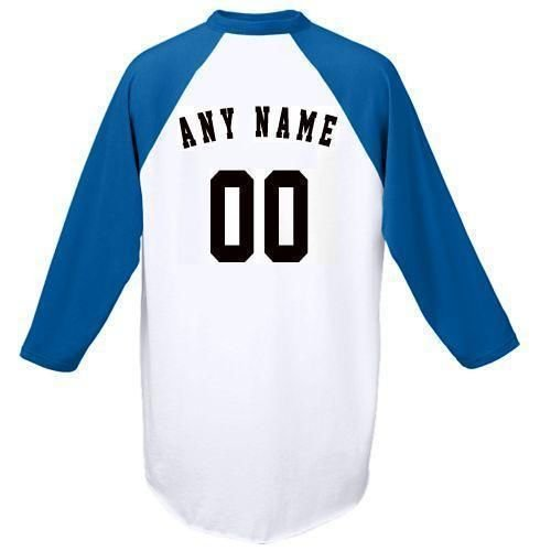 - Royal Adult Medium Customized (Any Name and/or Number) Raglan 3/4 Colored Sleeve Baseball/Softball Shirt/Jersey (Youth & Adult)