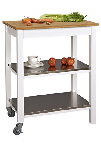 Corner Housewares Ultimate Ultra Sturdy Stainless Steel, Bamboo and Wood 3 Shelf Rectangle Rolling Kitchen Island