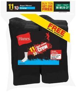 Hanes Boys` EZ-Sort 11-Pack Crew Socks