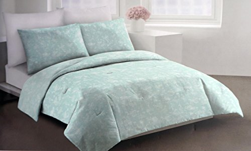 DKNY Bedding 3 Piece Full / Queen Duvet Cover Set Floral Pattern in Shades of Light Green, Gray and White -- Silhouette