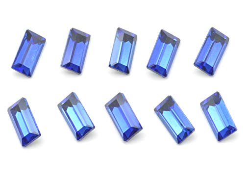 Catotrem Baguette Rhinestone Rectangle Pointback Crystal Glass Stone Silver Plated for Nails Art Jewelry Making(5x10mm) Blue