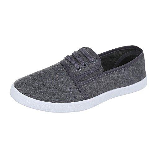 Ital-Design - Zapatillas de tela para mujer Gris - gris