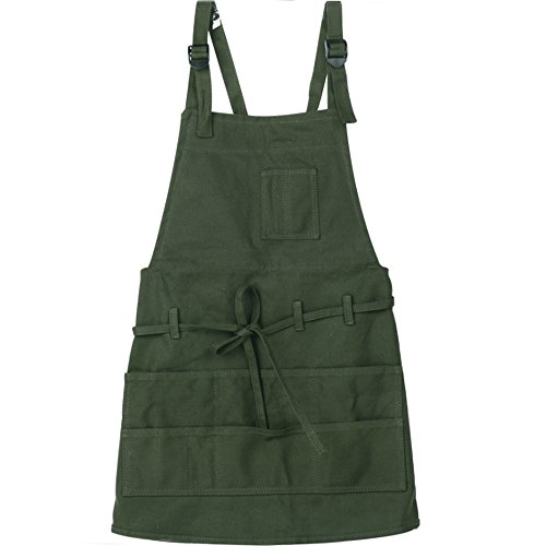 Canvas artist apron with pockets, green apron with adjustable neck strap & waist ties , adult painting aprons gardening slight waterproof painting apron for painters students, utility or work apron