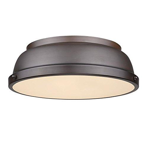 Golden Lighting 3602-14 RBZ-RBZ Duncan - Two Light Flush Mount, Rubbed Bronze Finish