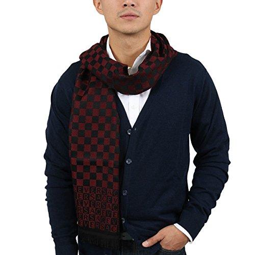 Versace IT00628 ROSSO Dark Red 100% Wool Mens Scarf
