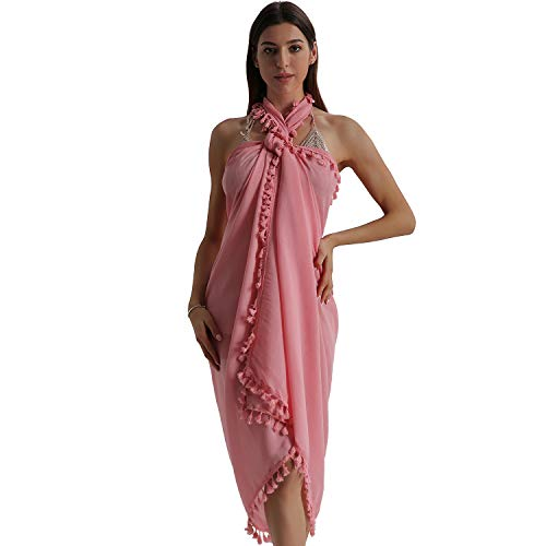 Eicolorte Beach Sarong Pareo Womens Linen Cotton Swimwear Cover Ups Short Skirt with Tassels (21-Pink-Long) ()