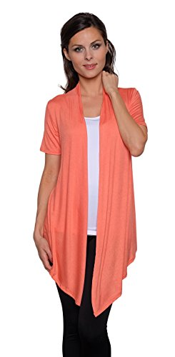 Coral Cardigan Sweater (Free to Live Women's Short Sleeve Light Weight Open Front Cardigan (XL, Bright Coral))