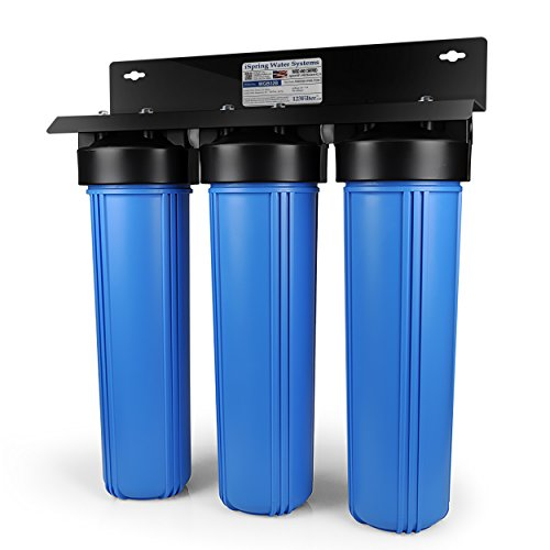 iSpring WGB32B 3-Stage Whole House Water Filtration System w/ 20-Inch Big Blue Sediment and Carbon Block Filters by iSpring