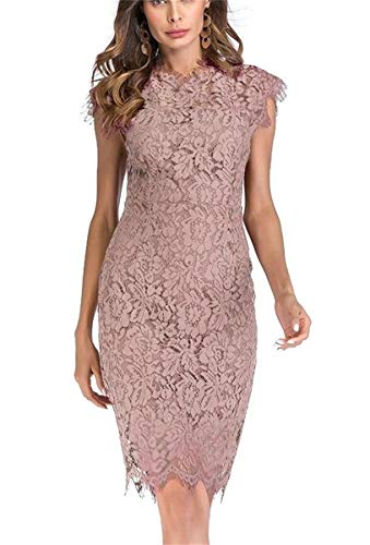 Light Pink Cocktail Dresses - Women's Sleeveless Floral Lace Slim Evening Cocktail Mini Dress for Party DM261 (L, Light Pink)