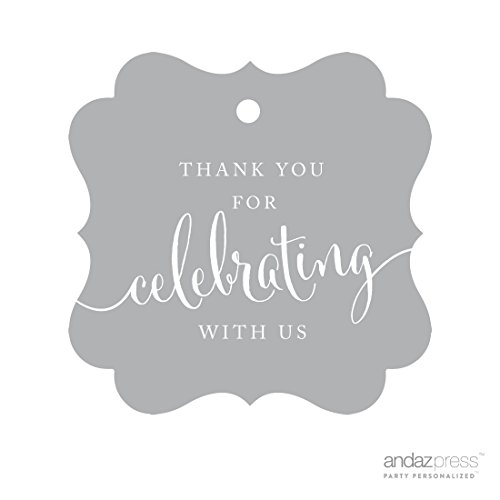 Andaz Press Fancy Frame Gift Tags, Thank You For Celebrating With Us, Gray, 24-Pack, For Baby Bridal Wedding Shower, Kids 1st Sweet 16 Quinceanera Birthdays, Anniversary, Graduation, Baptism, Christening, Confirmation, Communion Party Favors, Gifts, Boxes, Bags, Treats and Presents