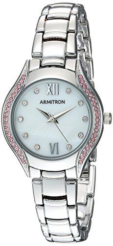 Armitron Women's 75/5469MPSVPK Light Pink Swarovski Crystal Accented Silver-Tone Bracelet Watch