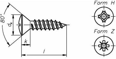 Reidl Linsensenkkopf Blechschrauben 5,5 x 32 mm DIN 7983 A2 blank 10 St/ück