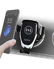 Telefoonhouder auto met laadfunctie voor ronde ventilatie, draadloze auto-oplader, mobiele telefoon accessoire voor Mercedes en auto met rond ventilatierooster, voor alle iPhone, Samsung, Huawei, LG met Qi-standaard