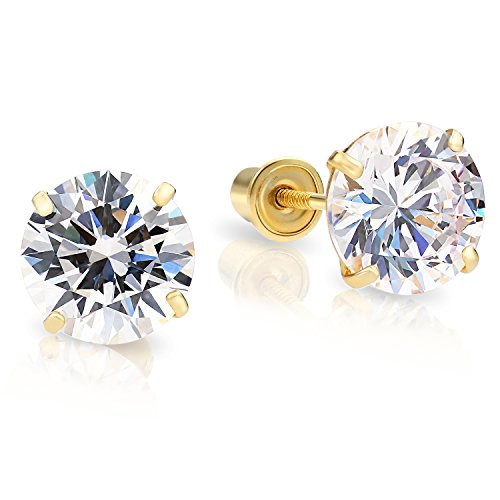 14k Yellow Gold Round Cubic Zirconia Solitaire Stud Earrings with Screw Backs (7mm) ()