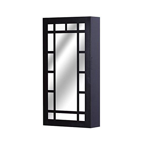 Wall Mount Jewelry Cabinet Mirror Armoire Storage Organizer With Ebook