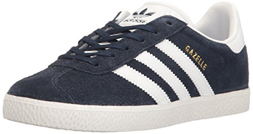 watch ed9f5 2b338 adidas Originals Boys Gazelle J Sneaker, Collegiate Navy White, 5 M US Big