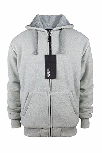 Fleece Lined Full Zip Jacket (Men's Ultra Soft Full Zip Sherpa-Lined Fleece Hoodie Jackets LT Grey)