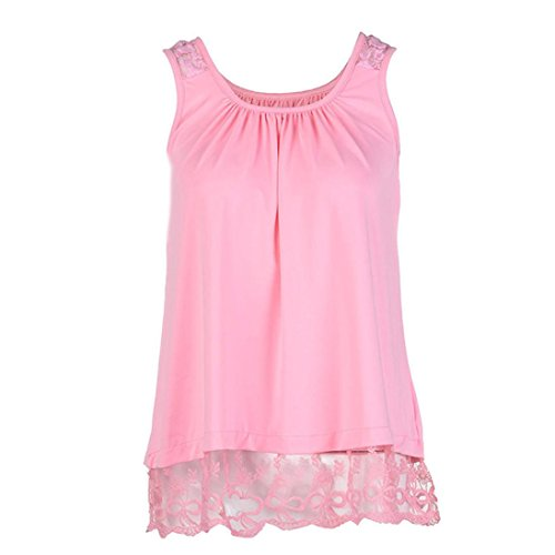 Crop Maternity Pant Twill (TOPUNDER Women O-Neck T-Shirt Sleeveless Tops Pure Color Lace Plus Size Vest Loose Blouse)