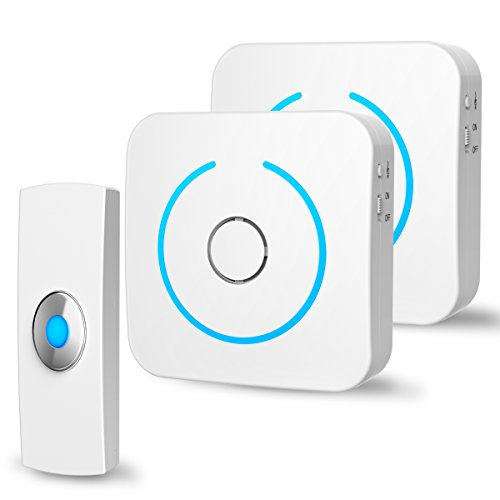 Holahome Wireless Doorbell - Waterproof Portable Door Bell Chime Kit Push Button with 2 Portable Receivers 32 Melodies Wireless Door Alarm Chime Long Range Battery Operated for Home Office White by holahome