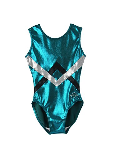 Obersee Kids Gymnastics Leotard, Green Chevron, X-Small by Obersee