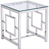 Zuo Modern Geranium Side Table, Polished Stainless Steel