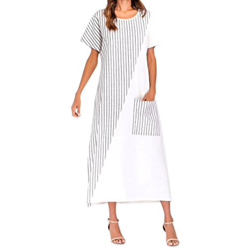 XJLUS-Apparel White Summer Dresses for Women Fashion Striped Crew Neck Casual Loose Kaftan Long Dress