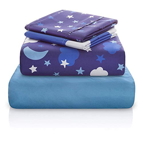 Chital Unisex Twin Bed Sheets | 4 Pc Gender Neutral Kids Bedding Set | Starry Night Sky Print | 1 Flat & 1 Fitted Sheet, 2 Pillow Cases | Durable Super-Soft, Double-Brushed Microfiber | 15
