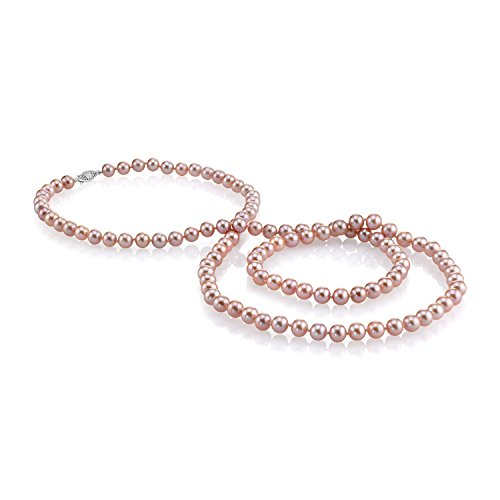 7-8mm Pink Freshwater Cultured Pearl Necklace with Magnetic Clasp, 36'' Opera Length - AAAA Quality by The Pearl Source