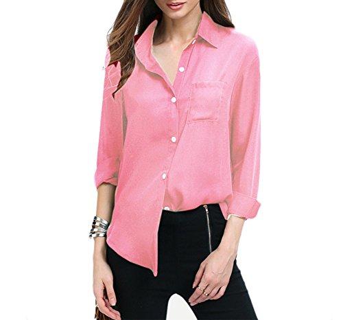 Cardigan Chemisier Aswinfon Blouse de Tops Blouse Longue Haut Boutons Rose Shirts Casual Femme Mousseline Chemise Manches qqvpH