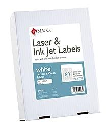 MACO Laser/Ink Jet White Return Address Labels, 1/2 x 1-3/4 Inches, 80 Per Sheet, 20000 Per Box (ML-8025B)