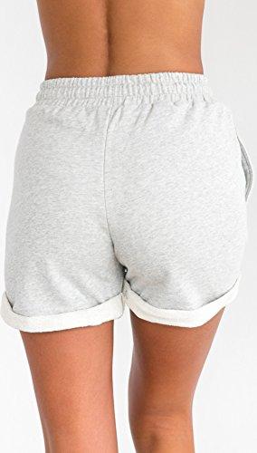 Ragazze Casual Coulisse Pantaloni Grigio Puro Colore Alta Shorts Vacanza Donna Pantaloncini Vita Moda Giovane Eleganti Estivi Spiaggia Corti wt6ZxBqXA