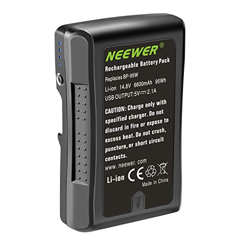 Neewer V Mount/V Lock Battery – 95Wh 14.8V 6600mAh Rechargeable Li-ion Battery for Broadcast Video Camcorder, Compatible with Sony HDCAM, XDCAM, Digital Cinema Cameras and Other Camcorders