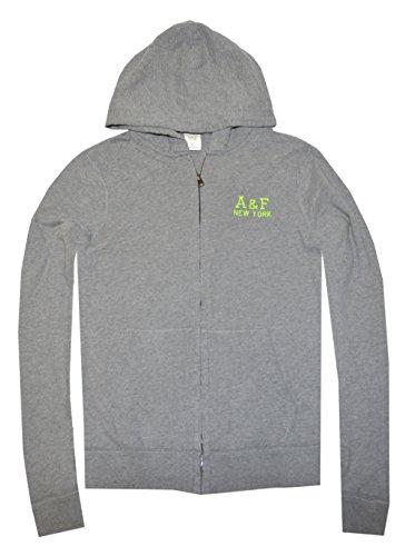 Abercrombie & Fitch Men Full Zip Logo A&F New York Hoodie (S, Heather Grey)