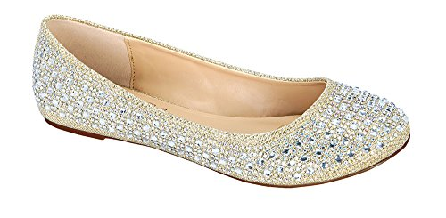 Collezione De Blossom Baba-1 Casual Strass Slip On Balletto Flat Lightweigh Nude Sparkle