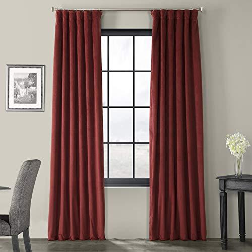Half Price Drapes VPCH-192018-96 Signature Blackout Velvet Curtain, Burgundy, 50 X - Burgundy Velvet Curtains
