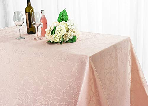 Covers Table Restaurant (Wedding Linens Inc. 72 Inch x 120 Inch Rectangular Versailles Chopin Jacquard Damask Polyester Tablecloths Table Cover Linens for Restaurant Kitchen Dining Wedding Party Banquet Events - Blush Pink)