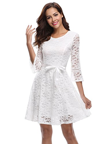iClosam Women's 3/4 Bell Sleeve Contrast Lace A-line Swing Party Dress with Belt White