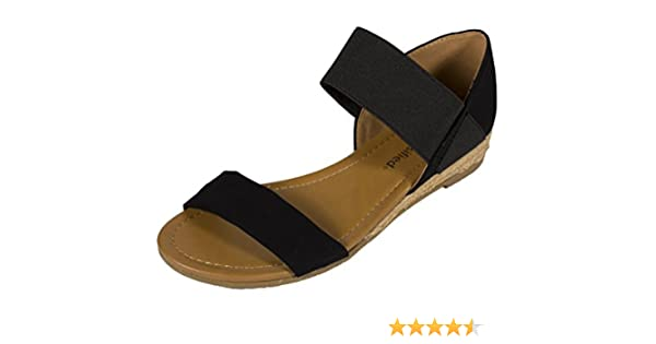 SITE! Women's Open Toe Elastic Strap Low Espadrille Heel Sandal in Black Nubuck Leatherette