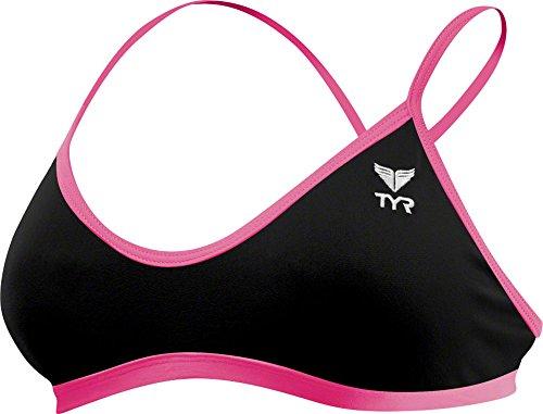 (TYR Women's Solid Trinity Bikini Top (Medium, Black/Pink))