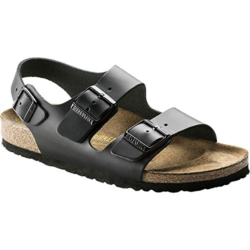Birkenstock Milano Leather Sandals, Black Matte, 43 ()