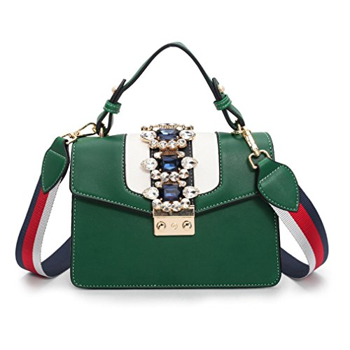 kaoling Bloqueo pequeño Bolso Cuadrado Diamantes imitación PU Bolso Cuero Ladies Crossbody Messenger Bags White Green