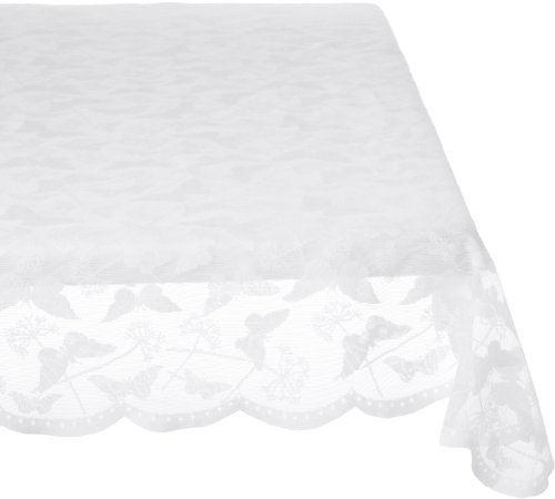Lorraine Home Fashions Butterfly Lace Tablecloth, 60 by 84-Inch, White