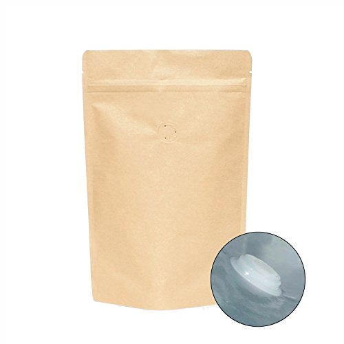 AwePackage High Barrier Natural Kraft Paper Stand up Zipper Coffee Pouch Bag with Valve (25, 12 (Coffee Zipper)