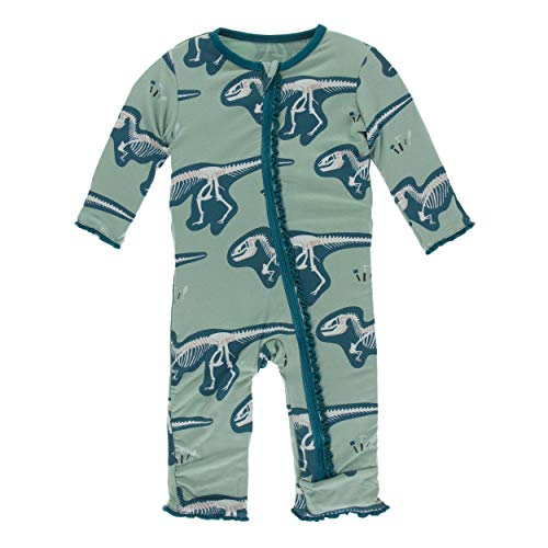 - Kickee Pants Little Girls Print Muffin Ruffle Coverall with Zipper - Shore T-Rex Dig, 5 Years