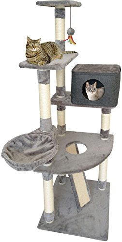 Penn Plax 4 Story Cat Tree Tower, Scratching Posts, Ramp, and Hanging Toy Easy Snap Assembly, 61 Inches High