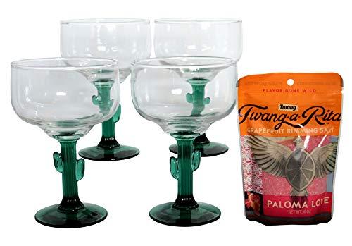 Margarita Glasses with Joshua Cactus Green Stem Set Of 4 (16 oz) with Twang-a Rita Grapefruit rimming salt (4oz) (Green Margarita Set)