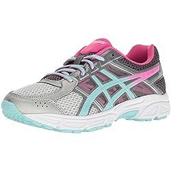 ASICS Girls' Gel-Contend 4 GS Running Shoe, Silver/Aqua Splash/Hot Pink, 2 M US Big Kid