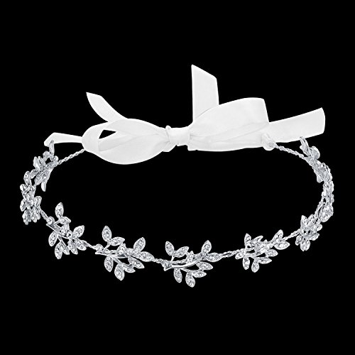 BABEYOND Bridal headpiece Handmade brdial headbands for Wedding Party Crystal Floral Leaf with Lace Ribbon]()
